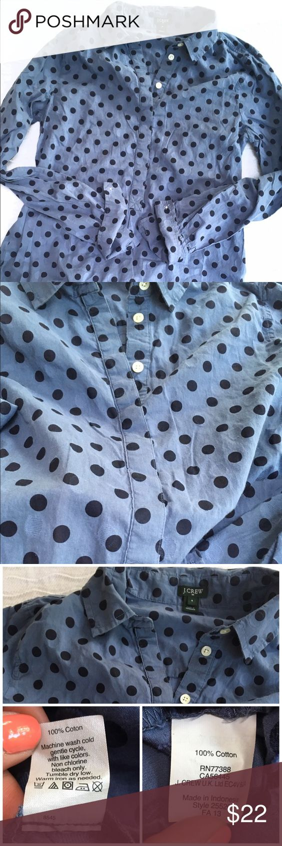 J Crew button down polka dot top Such a versatile, fun top! Keep it simple with jeans and white sneaks or white shorts and flip flops, or layer under a sweater this fall. Perfect condition. Buttons go down about halfway. Sleeves can be worn rolled up or long. Great transitional piece for summer-fall-spring in a timeless silhouette. A classic! 100% cotton, J Crew, size small. J. Crew Tops Button Down Shirts
