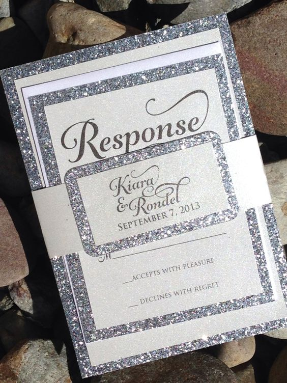 Wedding Invitation - Silver Glitter Wedding Invitation, Silver Glitter Wedding Invitations, Gold, Silver, Black by SoireeCustomPaperCo on Etsy #glitterweddinginvitations #weddinginvitations