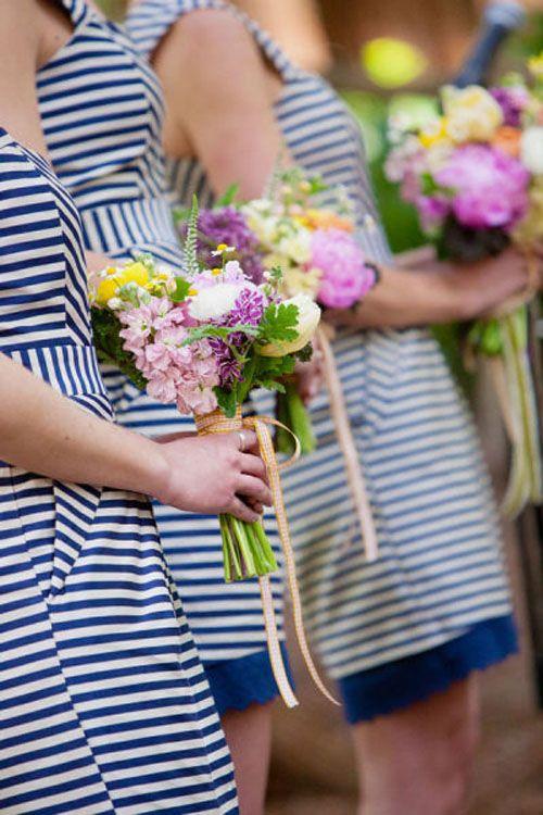 Grey Striped Bridesmaid Dresses