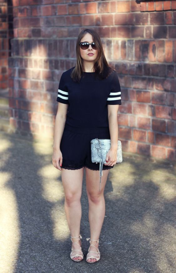 Outfit: Black Shorts & Lace-Up Sandals - LoveandFashion
