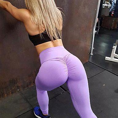 Dames Ruched Butt Lifting Yoga broek Sport Effen Kleur Spandex Hoge taille Fietsen Tights / Lange Broek Legging Zumba Fitness Gym training Sportkleding Push-up Butt Lift Buikcontrole Squat Bewijs