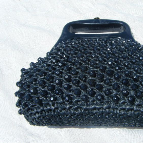1950's  Black Faceted Beaded Woven Straw by DiscriminatingDames, $39.25