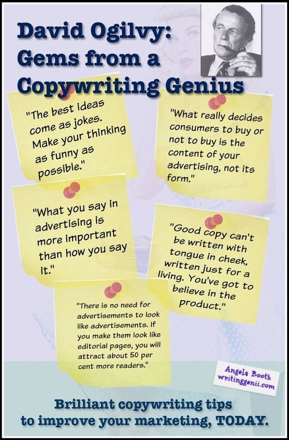 Best David Ogilvy Copywriting Tips to Improve Your Marketing (and make more money). Consider how you can use these tips in your writing, not only in marketing: http://angelabooth.com/wp/2014/11/20/5-best-david-ogilvy-copywriting-tips-improve-marketing/  #copywriting #copywritingtips