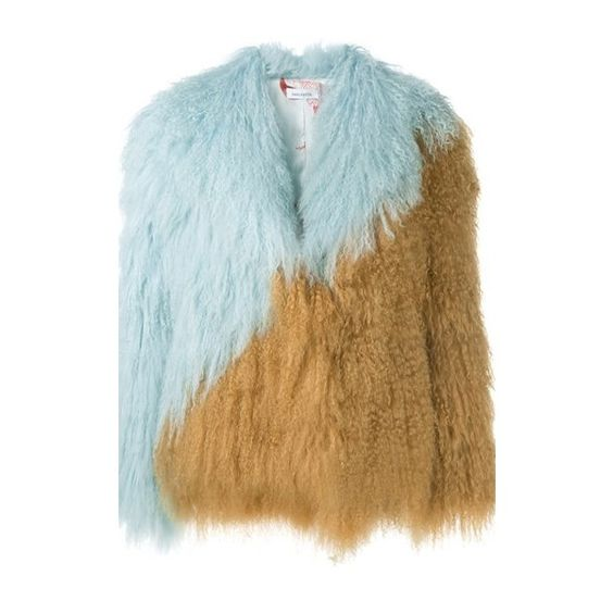 SAKS POTTS Lamb Fur Jacket (842.760 CLP) via Polyvore featuring outerwear, jackets, multi, straight jacket, brown jacket, long sleeve jacket, open front jacket y brown fur jacket