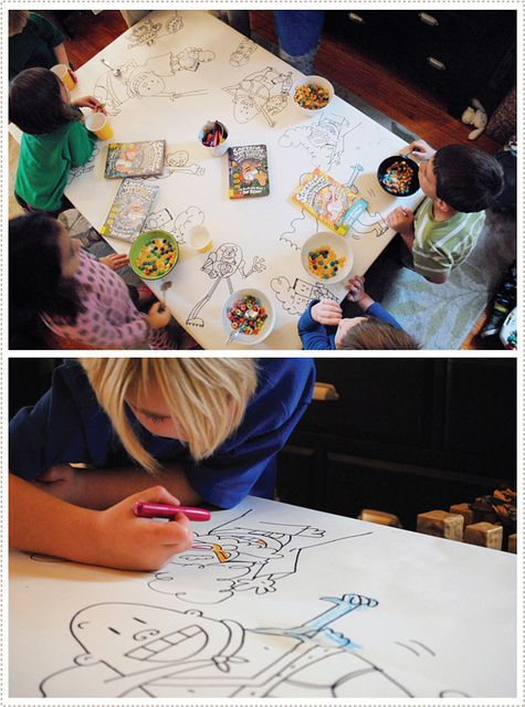 cute idea for a party table - colour in the pictures as they eat