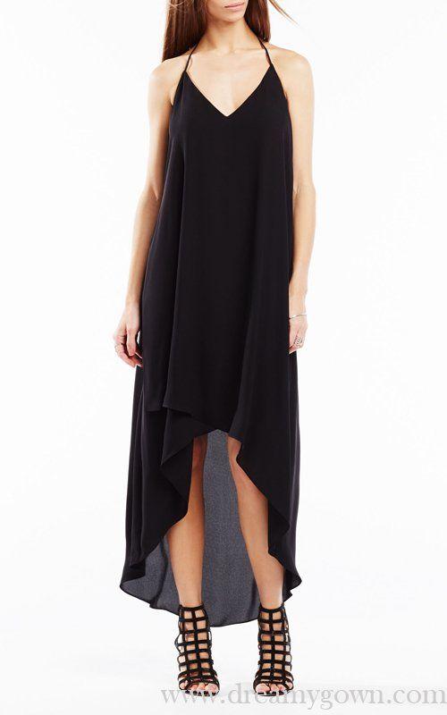 Black Cressida Lace Trim High Low BCBG Holiday Dress - BCBG High ...