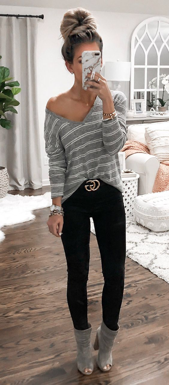 gray striped long-sleeved shirt #spring #outfits