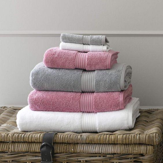 Christy Supreme Hygro 650gsm Cotton Towels - Blush Pink & Silver