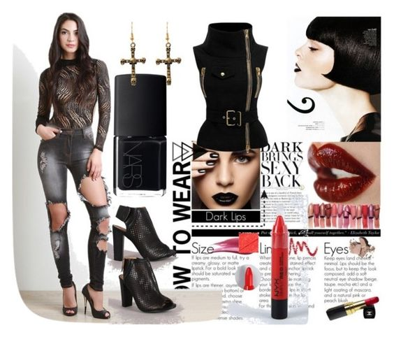 """""""Dark Brings Sexy Back"""" by the-walking-threads ❤ liked on Polyvore featuring NARS Cosmetics and NYX"""