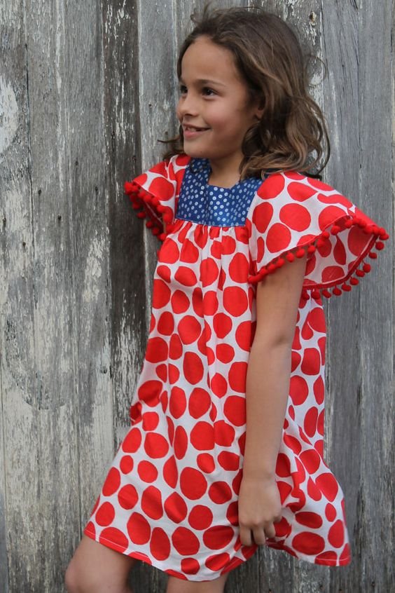 Red summer dress navy
