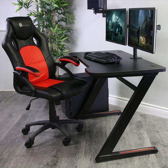 Z Shaped Gaming Desk On Behance In 2021 Gaming Desk Shape Game Gaming Room Setup