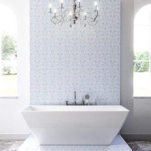 Indigo Wash Glossy Manorca Terracotta Tiles 6x6 Country Floors Of America Llc 1000 In 2020 Terracotta Tiles Morrocan Tile Bathroom Morrocan Tile