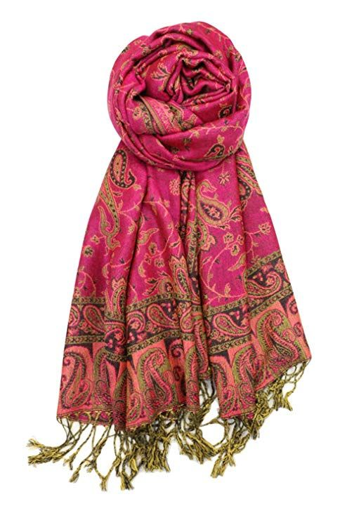 Very Moda Women/'s Two Sides Long Large Paisley Print Fringed Soft Pashmina Scarf