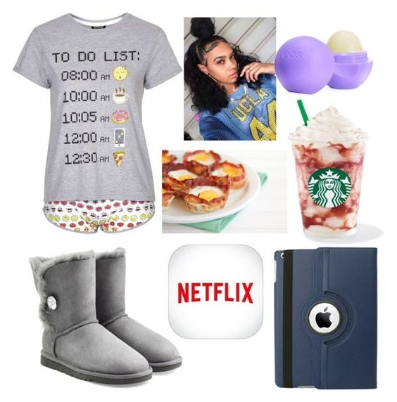"""Happy Sunday Polyvore_Breakfast "" by ajrsmith ❤ liked on Polyvore featuring Topshop, Eos and UGG Australia"