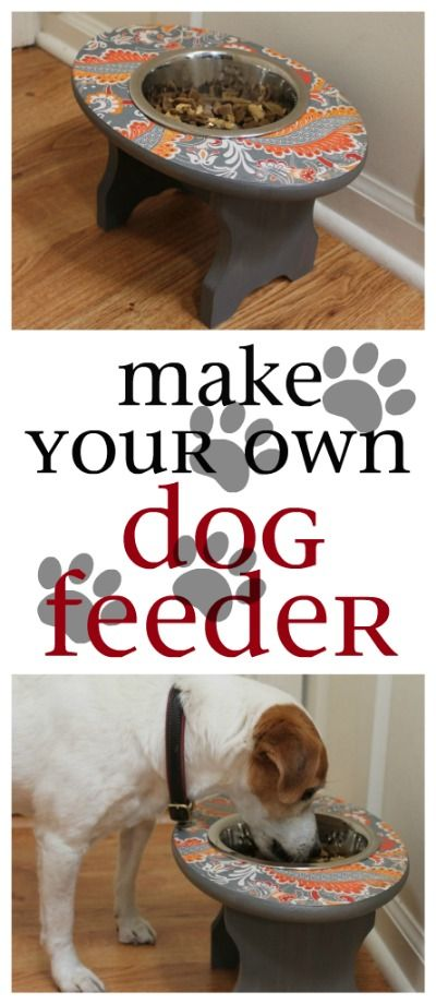 Make your own dog feeder with a wooden stool, stainless steel bowl, scrapbook paper and mod-podge.