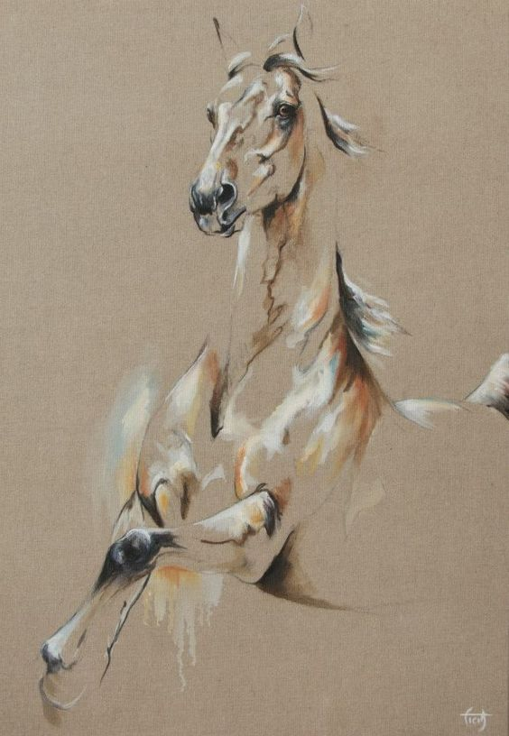 Beautiful huile sur toile and toiles on pinterest for Peinture sur fer a cheval