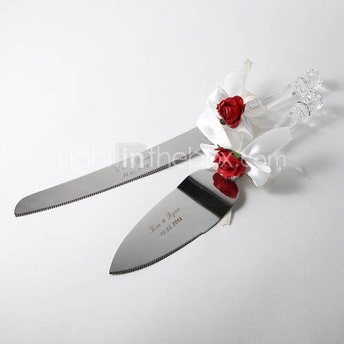 personnalisé rose rouge et blanc de gâteau de mariage en satin Ensemble de service à