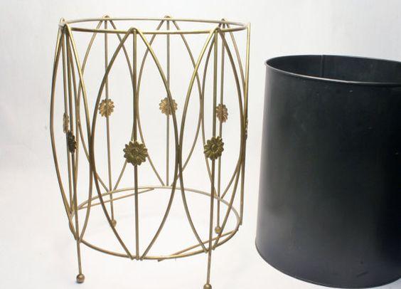 Modern Waste Basket   Wire  amp  Metal   Vintage Mid Century Design   Bathroom Office Bedroom or Kitchen Garbage Can Hollywood Regency. 1950  39 s Modern Waste Basket   Wire  amp  Metal   Vintage Mid Century