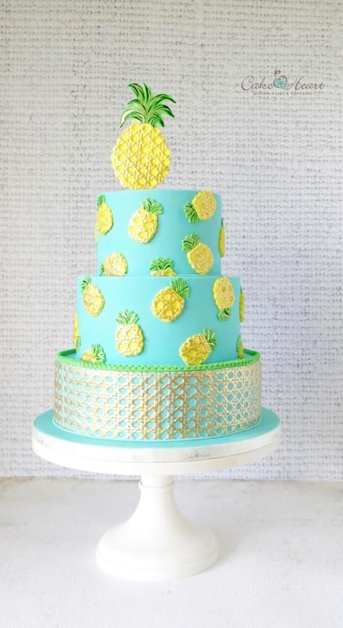 Phenomenal Pineapples Cake By Cake Heart With Images Pinapple Birthday Cake Personalised Birthday Cards Akebfashionlily Jamesorg