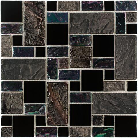 Mto0281 Modular Black Gray Purple Iridescent Glass Stone Mosaic Tile Wall Tiles Stone Mosaic Tile Porcelain Mosaic Tile