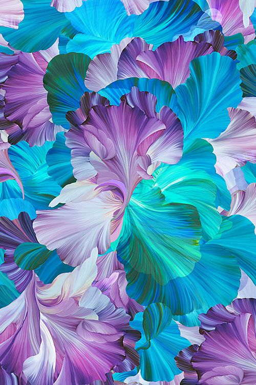 Floral Fantasia Painted Iris Digital Print Fabric Abstract Flowers Digital Flowers Flower Wallpaper