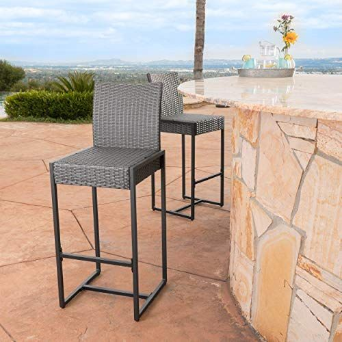 New Conrad Patio Furniture Outdoor Wicker Bar Stools Set 2 Grey