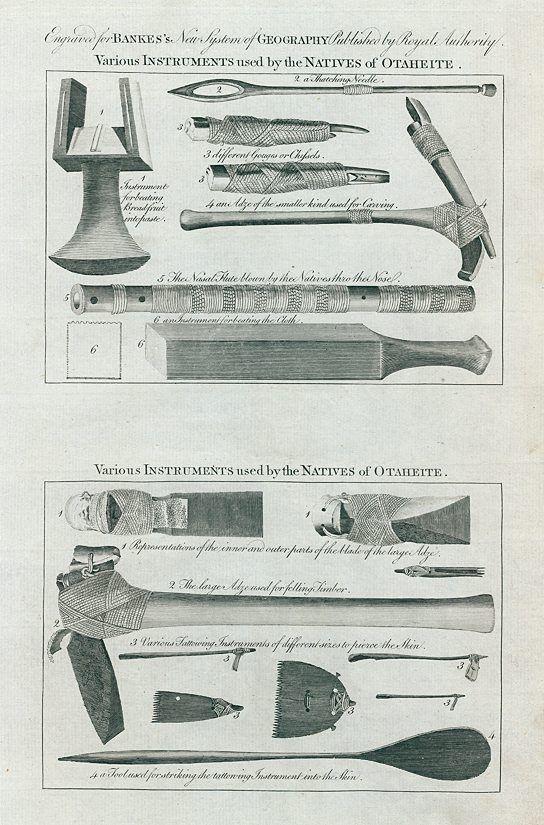 Tahiti, Native tools and flute, 1788