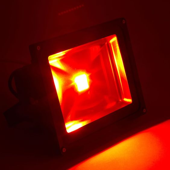 Colour changing LED floodlight in red