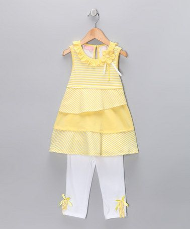 Take a look at this Yellow Stripe Swing Top & Capri Pants - Toddler & Girls  by Blow-Out on #zulily today!
