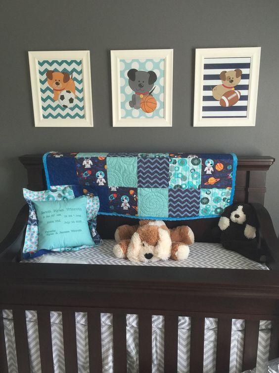 Puppy Dogs Wall Art Baby Boy Bedroom Sports Nursery