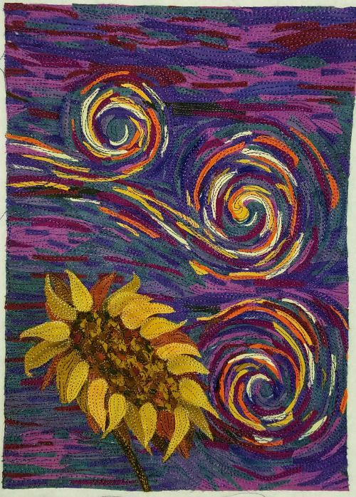 quiltails: I finished my Van Gogh mini quilt. It taught me a...