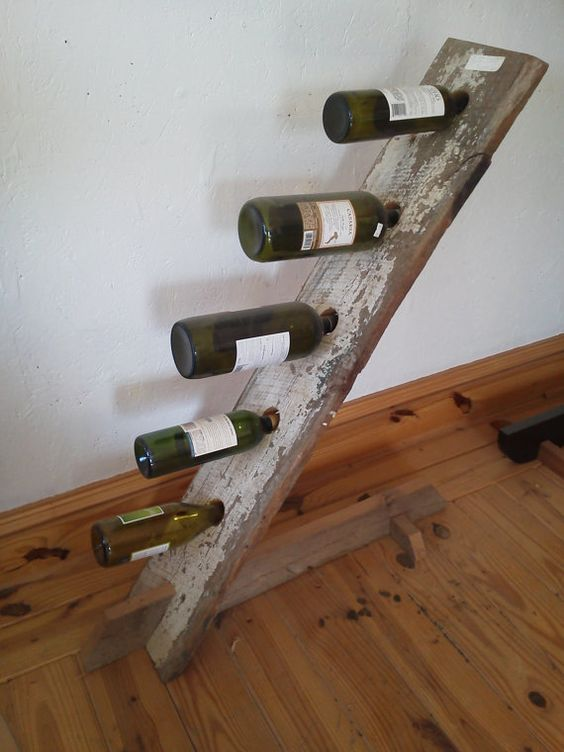 Antique Barn wood five bottle wine stand: