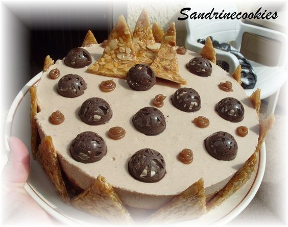 Bavarois chocolat-crème de marron-nougatine - Sandrinecookies