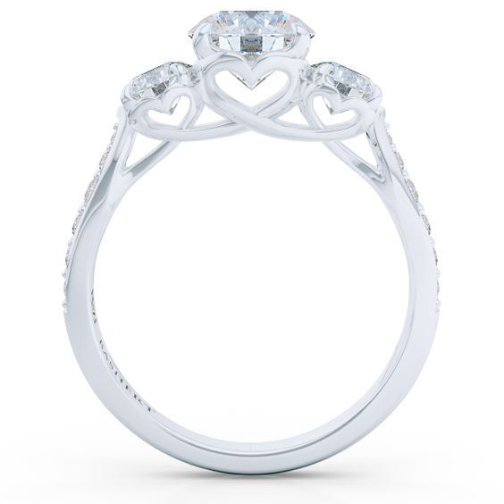 "Bashert Jewelry | Custom Jewelry Online. Competitive prices and exquisite craftsmanship. GIA Certified Diamonds. Bashert's Jewelry three-stone, signature ""Hearts"" mounting will display the story of your ""Past - Present - Future"" in a unforgettable Bright White Gold or Platinum setting."