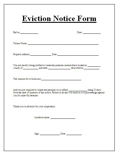 Blank Eviction Notice Form – Printable Eviction Notice
