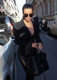 Kim Kardashian with Celine Phantom Stamped Croc Bag
