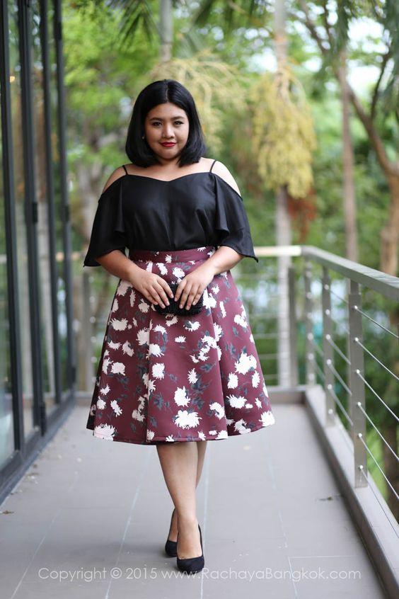 High Waisted Flared Midi Skirt