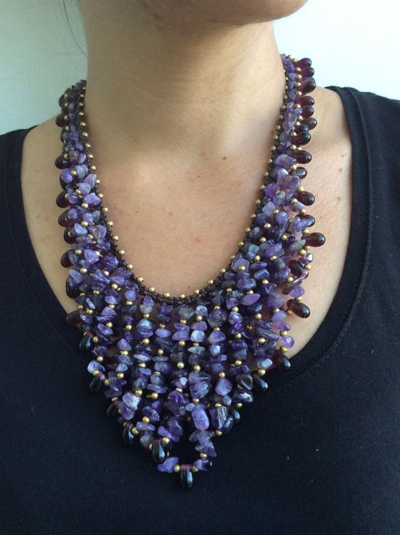 Amethyst Necklace  Amethyst Bib Necklace  Amethyst by EasternVibes