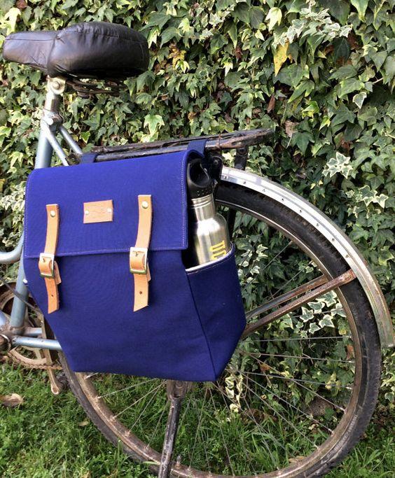 Sacoche de vélo/bleu marine en toile et cyclo-sacoche par BiciByBar