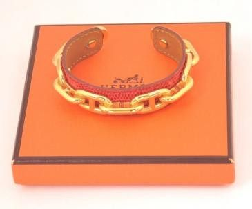 Hermes Red Leather Gold Tone Bangle Bracelet   Box  H332