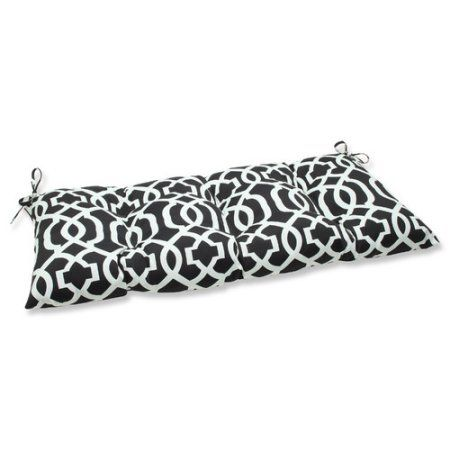 Pillow Perfect Outdoor/ Indoor New Geo Black/White Wrought Iron Loveseat Cushion