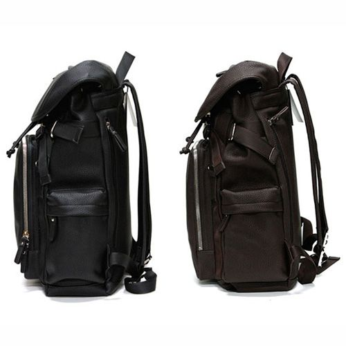 Black Leather Backpack for Men Laptop Backpacks for College Toppu ...