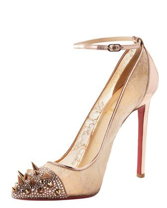 Christian Louboutin: Potpourri Spiked, Spiked Toe, Christian Louboutin Shoes, Shoes Boots, High Heels, Shoes Bags, Shoes Shoes, Red Bottom, Lace Pump