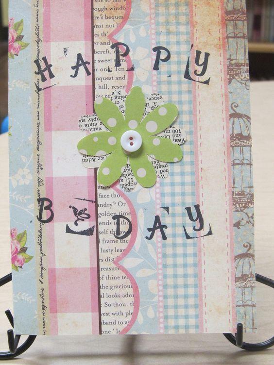 Handmade, Blank, Vintage Inspired, Flower Birthday Card. $3.50, via Etsy.