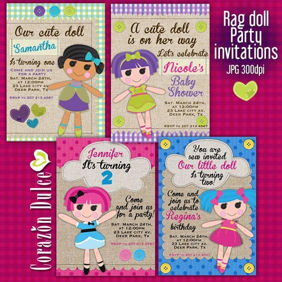 Rag Doll Printable Party Invitations Cute Invitations