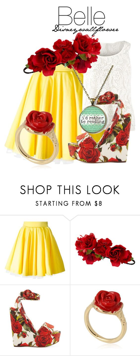 """Belle"" by disneywallflower ❤ liked on Polyvore featuring Philipp Plein, CAbi, Accessorize, Dolce&Gabbana and LeiVanKash"