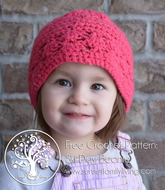 Elizabeth Crochet Hat Pattern For Child : Ski Day Beanie -- Free Crochet Pattern from Sunset Family ...