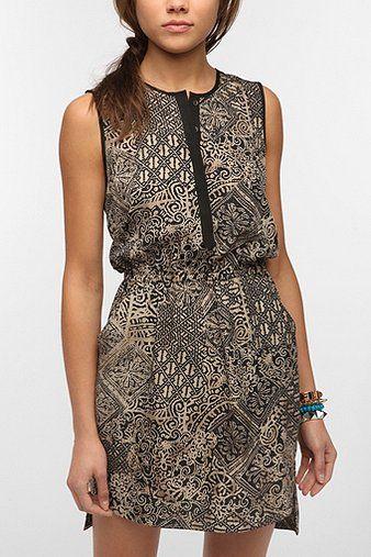 COPE Silky Split Neck Shift Dress
