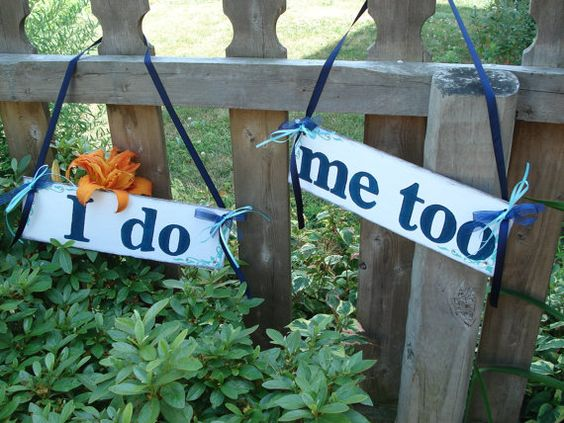 cute signs for bride/groom chairs