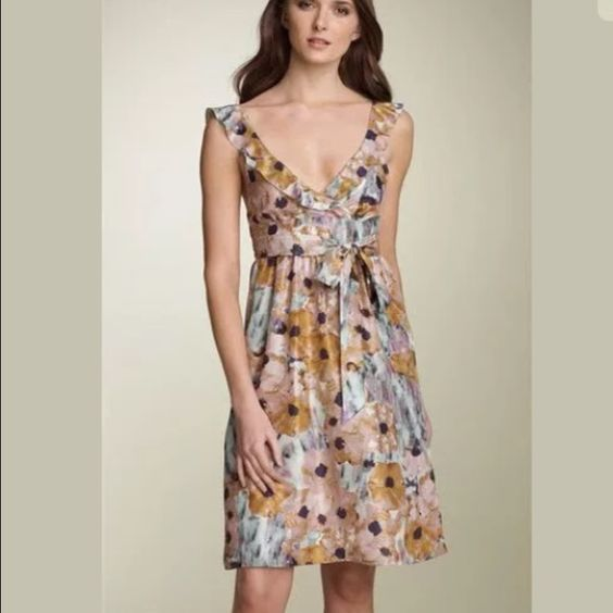 Theory Galila Marble Flower Silk Garden Dress Excellent Preowned Condition!! Originally retails $325, Theory 'Galila' Marble Flower Ruffled Silk Garden Dress. Size 4 Theory Dresses Mini